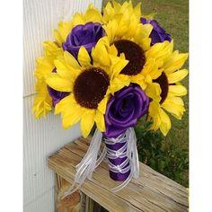 Sunflower Bouquet, Sunflower Purple Rose Bridal Bouquet, Sunflower... ❤ liked on…