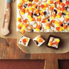 Candy Corn Fudge Recipe - The pretzels seem soft once they sit in the mixture. Also, I let it sit in the fridg over night but when I tried cutting it this morning it still seemed a little too soft.