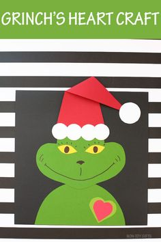 Christmas Crafts – Grinch's heart Christmas craft for preschoolers, kindergartners and older kids Preschool Christmas Crafts, Kindergarten Crafts, Holiday Crafts, Classroom Crafts, Christmas Activities, Craft Activities, Preschool Activities, Grinch Heart, Diy Crafts For Kids Easy