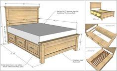 DIY Farmhouse Storage Bed With Storage Drawers - http://theperfectdiy.com/diy-farmhouse-storage-bed-with-storage-drawers/ #DIY