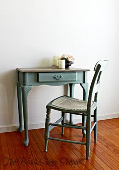 The desk is painted in Duck Egg Blue and Coco. The chair is also painted in Duck Egg with Old Ochre. Gothic Furniture, White Furniture, Upcycled Furniture, Cheap Furniture, Chalk Paint Desk, Painting Laminate Furniture, Hand Painted Furniture, Ochre Bedroom, Toddler Table And Chairs