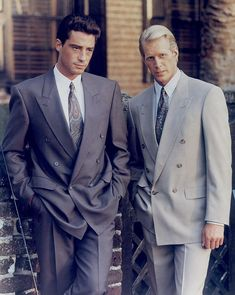 In the Savile Row tailor, Timothy Everest, started working with the store on their suiting collections - and two rather dapper male models showcase the collection 80s Fashion Men, Suit Fashion, Vintage Fashion, Fashion History, Fall Fashion, 80s Suit, Valley Girls, Estilo Retro, Suit And Tie