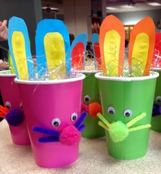 Easter Bunny cup craft for nursing home Activities - we did these today. :)