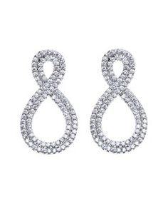 Brinco prata de infinito zirconias cristais Brincos Grandes, Brincos  Pequenos, Brincos Para Noivas, d19d62f22a