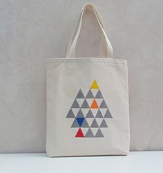 Tote bag canvas cotton with handprinted triangles