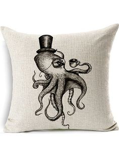 "HomeChoice Cotton Linen Sea Cretures Octopus In Black And White Durable Home Square Decorative Throw Pillow Cover Accent Cushion Cover Pillow Shell Bed Pillow Case 18 By 18 Inches (18""X18"") ❤ ..."