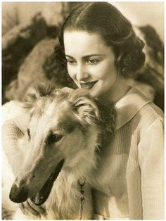 Olivia de Havilland with a borzoi