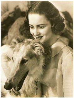 Olivia de Havilland with a borzoi