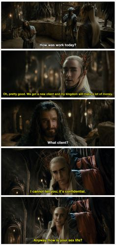 A parallel universe, where Thranduil and Thorin actually get along.