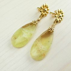 Yellow Opal Earrings Yellow Gold Post Earrings Natural