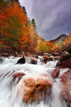 ~~A Light Moment ~ Small moment of reflected light on the incredible fall colors, waterfall, Hecho Valley, Aragon, Spain by Juan~~