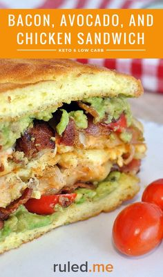 A bacon, avocado and sicken sandwich for low carb and keto diets. #ketodiet #ketorecipes #ketogenicdiet
