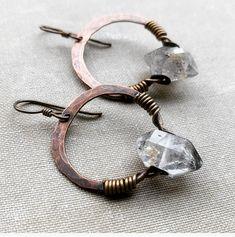 Copper Hoop Earrings / Crystal Earrings / Raw Crystal / Hoop Earrings / Healing Crystals / Copper Hoops / Rustic Jewelry DanielleRoseBean
