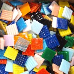Tile Box - Solid and Vitreous Mix. These tiles have a nice textured surface which makes them ideal for general mosaic crafts. These tiles are made of colored glass; they are fade and frost resistant. Mosaic Diy, Mosaic Crafts, Mosaic Projects, Diy Craft Projects, Glass Pool Tile, Glass Mosaic Tiles, Stone Mosaic, Crafts To Sell, Fun Crafts