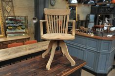 Solid Oak Swiveling Armchair, 1930s for sale at Pamono