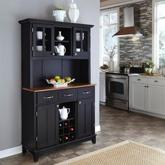 "Home Styles Large 35-1/2H x 41-3/4""W x 16-3/8""D Buffet with Cottage Oak Finish Solid Wood Top & 2 Door Hutch - Black Finish"
