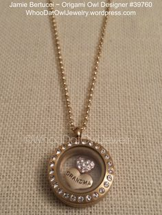 Origami Owl Living Locket - mini gold with crystals LOVE GRANDMA. Locket design shown $40.00