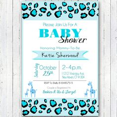 Printable Blue Safari Baby Shower Invitation 4X6 inches by ElvasCrafts on Etsy