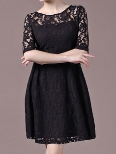 Elbow Sleeve Lace A-Line Black Dress 20.67