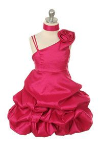 Flower Girl Dress Style 228 - Taffeta Pick Up Dress with Shoulder Detail
