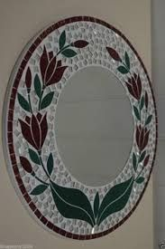 Mosaic Red Tulip Round Mirror 40 cm Includes Next Day Delivery Más
