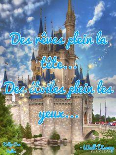 Walt Disney Citation ; des rêves plein la tête...❤️ Walt Disney, France, Bullet Journal, Disney Background, Game Room, Positive Thoughts, Quotes, Bedroom, French Resources