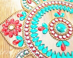 teal and red wedding table - Google Search