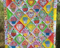 "Rag Quilt pattern youth throw size 45"" X 56"" instant download PDF PATTERN-TUTORIAL I Love Cupcakes! a super sweet Shredded Style Rag Quilt"
