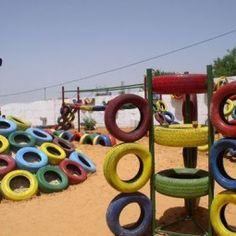 Tire Playground Ideas DIY Tyre Playground Design Ideas For Kids . Outdoor Play Spaces, Kids Outdoor Play, Backyard For Kids, Outdoor Toys, Outdoor Fun, Tire Playground, Natural Playground, Playground Design, Playground Ideas