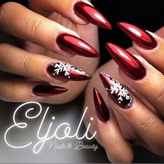 ❄Winter nails❄⛄ Cute Nail Designs For Christmas Time Cute Christmas Nails, Xmas Nails, New Year's Nails, Holiday Nails, Christmas Time, New Years Nail Designs, Christmas Nail Art Designs, Cute Nail Designs, Red Stiletto Nails