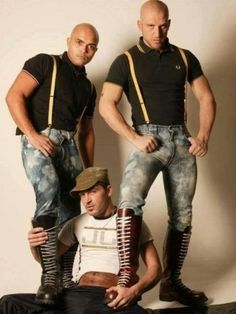 beyondbootedcops: Hot skins I am totally into cop boots but skinhead boots totally bone me up, esp. Mode Skinhead, Skinhead Men, Skinhead Boots, Skinhead Fashion, Zerfetzte Jeans, Mens High Boots, Pregnant Man, Skin Head, Scruffy Men