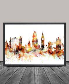 London Skyline London Cityscape Art Watercolor by FineArtCenter