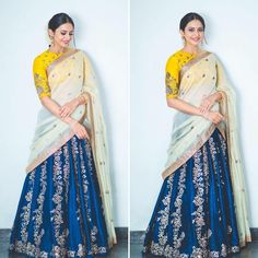 Looking for half saree hairstyles? Here are our picks of 14 chic and effortless hairstyles to try with this traditional attire. Indian Gowns, Indian Attire, Indian Sarees, Indian Wear, Pakistani, Half Saree Designs, Blouse Designs, Choli Designs, Dress Designs