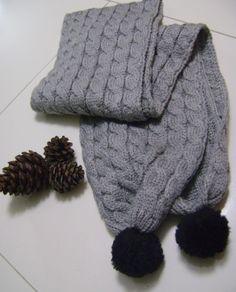 gri atkı, siyah ponponlu, satın al Knit Cardigan, Gloves, Knitting, Winter, Shopping, Faces, Fashion, Long Scarf, Winter Time