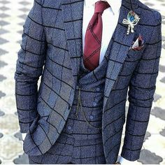 If you're a fan of bold patterns then you must add this blue three piece windowpane suit to your collection! Best Suits For Men, Cool Suits, Mens Fashion Suits, Mens Suits, Men's Fashion, Suit Men, Fashion Trends, Dandy, Stylish Men