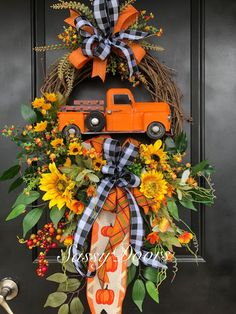 2019 Fall Collection Buy the truck at Family Dollar. Easy Fall Wreaths, Diy Fall Wreath, Thanksgiving Wreaths, Wreath Crafts, Holiday Wreaths, Wreath Ideas, Spring Wreaths, Winter Wreaths, Summer Wreath