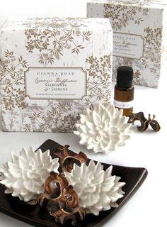 Gardenia & Jasmine essential oil diffusers. #bathroom
