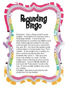 It seems like every year my kiddos struggle with rounding. This is a fun game that you can play whole group or have students play as a center group. I have included a plain Bingo card and one with candy corn clip art for the holiday! Math Classroom, Classroom Organization, Classroom Ideas, Third Grade Math, Fourth Grade, Math Games, Math Activities, Too Cool For School, School Stuff