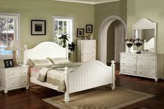"""CM7013 Cape Cod White Finish Queen Bed - Cape Cod White Finish Bedroom CollectionFeaturesConstructed from solid wood and veneer. Traditional Style. Arched Headboard and Footboard. Beveled Mirror. White Finish.Twin Bed, 82-1/2""""L x 44""""W x 57""""H Full Bed, 82-1/2""""L x 59""""W x 57""""H Queen Bed, 87-1/2""""L x 65""""W x 57""""H Nightstand, 28""""W x 17""""D x 28""""H Mirror, 48""""W x 40""""H x 1"""" Dresser, 64""""W x 17""""D x 35-7/8""""H Chest, 36""""W x 17""""D x 51-7/8""""H Please Note Mattress is not included. May be bought separately"""