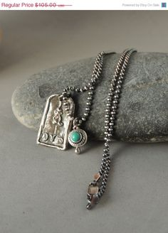 Artisan Jewelry, Sterling Silver Necklace, Silver Buddha Pendant, Silver Turquoise Bead, Silver Ball Chain, Urban Chic, Rustic Handcrafted,