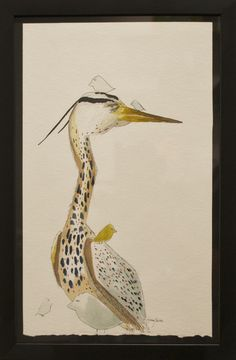 """H. Veng Smith, Heron (Heaven), 2012, Water Color on Paper, 11""""x16"""".....$275"""