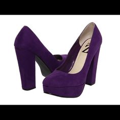 Type Z Yumiko Purple Heels These cute purple heels feature a rounded toe, lightly cushioned footbed, smooth synthetic lining, wrapped heel and platform, man-made sole, 5 inch heel height and 1 1/4 platform height. Worn one time and still have original box. Sold out in stores!!!! Type Z Shoes Heels