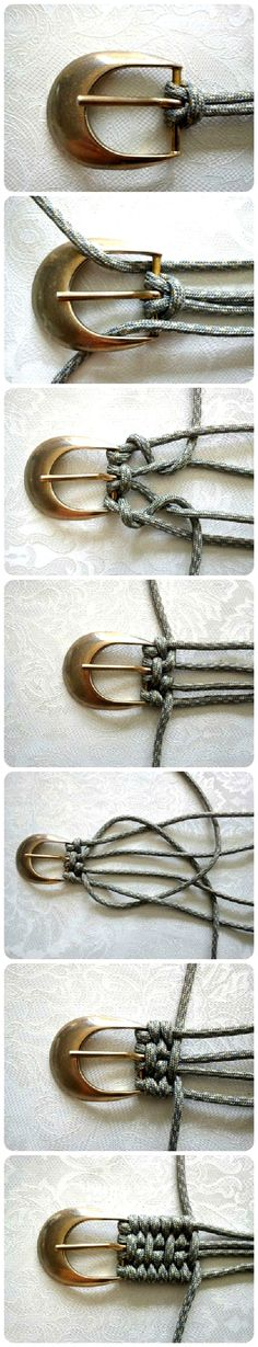 Tutorial: Belt Weaving Using Nylon Cord Accessories Do-It-Yourself Ideas Here is an idea I had never seen to weave a belt. Here's a different kind of Tutorial: Belt Weaving! Use nylon paracord and be zombie-apocalypse ready, too! Fun Crafts, Diy And Crafts, Arts And Crafts, Handmade Crafts, Diy Projects To Try, Sewing Projects, Sewing Hacks, Diy Accessoires, Paracord Projects