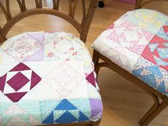 .quilt scraps as chair covers