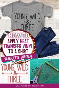 Learn how easy it is to create a custom shirt in Silhouette Studio and apply heat transfer vinyl. #footprintsofinspiration #htv #silhouettetutorial #silhouette #vinyldiy #vinylgifts Shirt Tutorial, Vinyl Gifts, Heat Transfer Vinyl, Silhouette Studio, Custom Shirts, How To Apply, Create, Easy, Custom Tailored Shirts