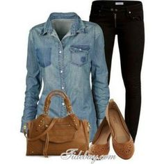 Black pants, chambray, purse and flats! So simple and chic