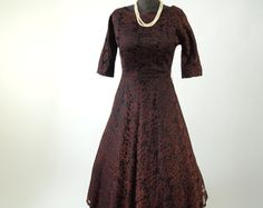 Vintage Brown Lace Dress 50's  Cocktail Mad Men Cocoa with Full Skirt size S/M