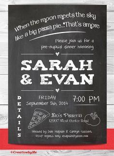 Pizza restaurant, chalkboard, Rehearsal dinner invitation