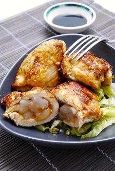 Involtini di pollo e gamberetti marinati alla salsa di soia