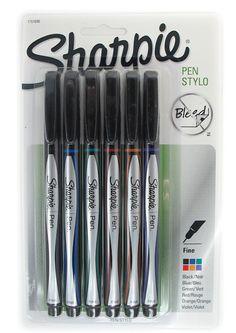 Sharpie Fine Point Felt Tip Pens Assorted Colors Pack Of 6 - Black, Blue, Green, Red, Orange, Purple